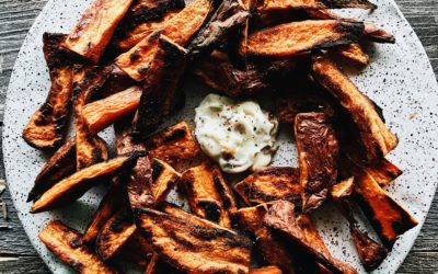 Baked Sweet Potato Wedges with Roasted Garlic Aioli
