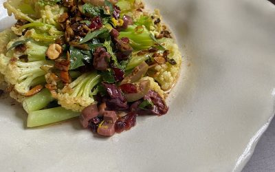 FLOWERING CAULIFLOWER WITH OLIVE RELISH + BROWN BUTTER VINAIGRETTE