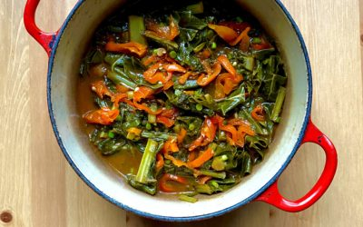 Braised Greens w/ Sweet & Sour Glaze + Pickled Hot Peppers